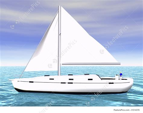Sailboat On Water by 3d Sailboat On Water Side View Illustration