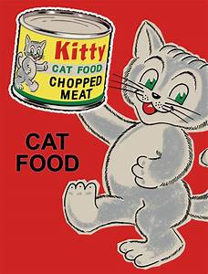 KITTY CAT FOOD LARGE VINTAGE STYLE METAL TIN SIGN WALL