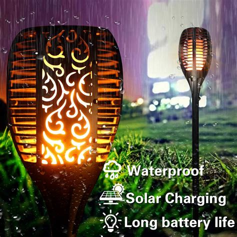 Outdoor Led Solar Waterproof Flame Torch Light Indigo Temple
