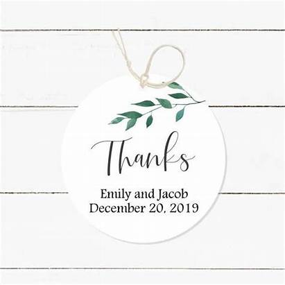 Tags Greenery Favor Round Thank Personalized