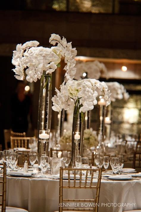 Tall White Orchid Floral Centerpieces Wedding