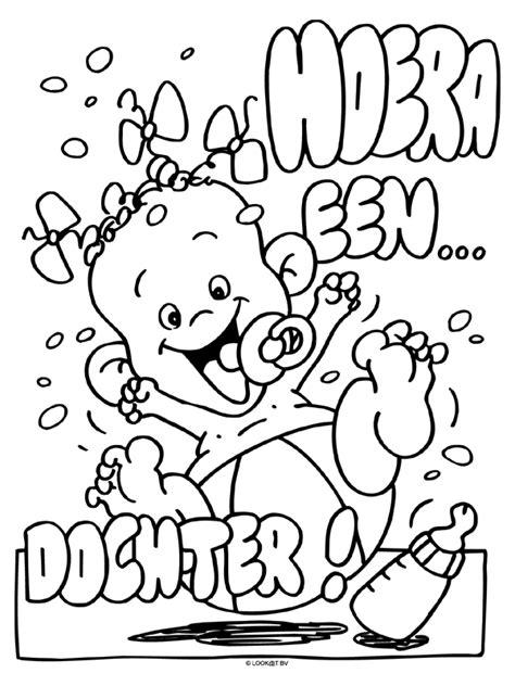 Kleurplaat Baby In Wieg by Kleurplaat Hoera Een Dochter Kleurplaten Nl