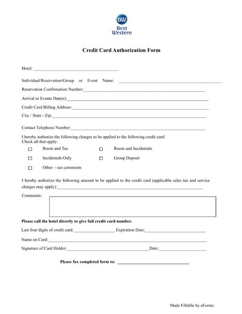 cc auth form doc 608792 credit card authorization forms