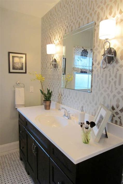 wallpaper accent wall bathroom ideas  pinterest