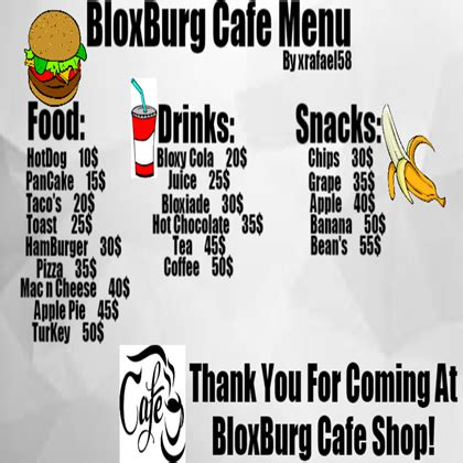 Best How To Make A Cafe Menu In Bloxburg - Bella Esa