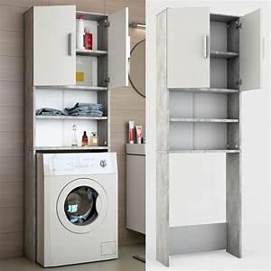 Waschmaschinenschrank Mit Türen : waschmaschinenschrank badregal 190x60cm grau beton ~ Eleganceandgraceweddings.com Haus und Dekorationen