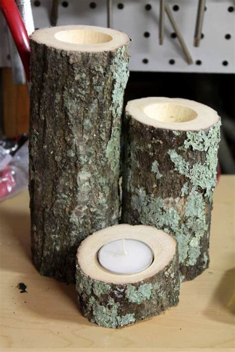 diy wood candle holders  spiffy cookie