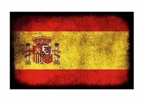 Spain Spanish aged flag metal sign vintage style Spanish