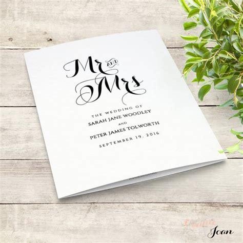 printable folded order  service wedding program byron