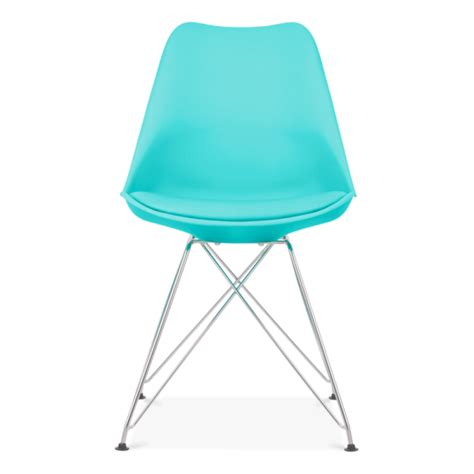 eames inspired turquoise dining chair with eiffel metal