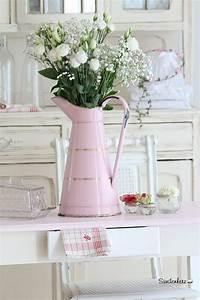 Vintage Style Deko : wundersch ne emaille kanne in rosa blumenvase krug vintage deko beautiful pink water jug ~ Markanthonyermac.com Haus und Dekorationen