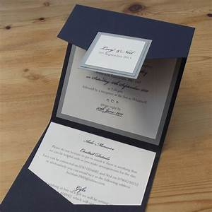 simple wedding invitations luxury layered pearlised or With navy and silver wedding invitations uk