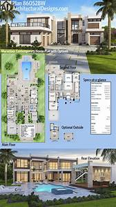 Contemporary, Mansion, Floor, Plans, 2021
