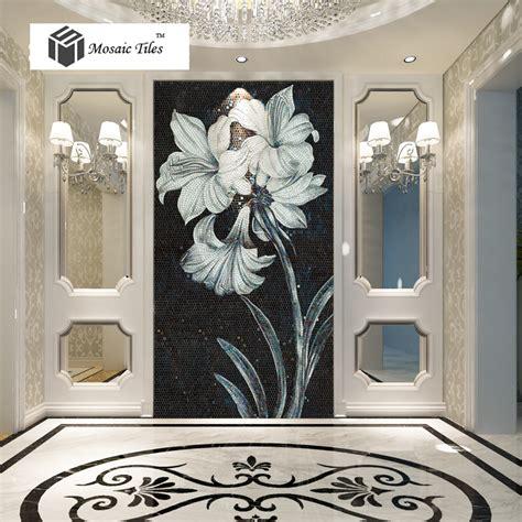 customized bisazza wall mosaic tile black white flower