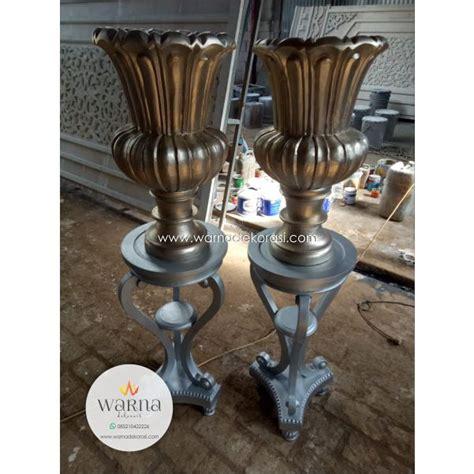 meja pot vas bunga kayu silver terbaru properti wedding