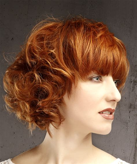 Short Wavy Casual Bob Hairstyle with Blunt Cut Bangs Red
