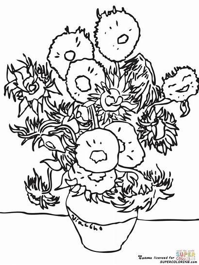 Gogh Van Vincent Coloring Sunflowers Study Pages