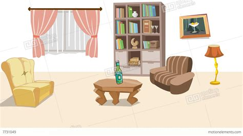 earthquake  cartoon living room stock animation