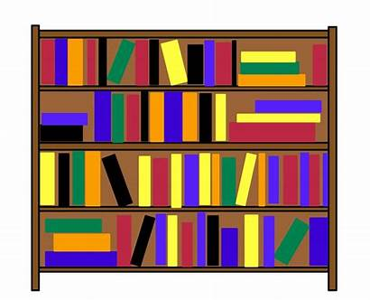 Clip Bookshelf Clipart Library Bookcase Shelves Domain