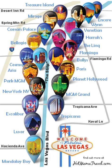 las vegas strip hotel map  unique map  main hotels