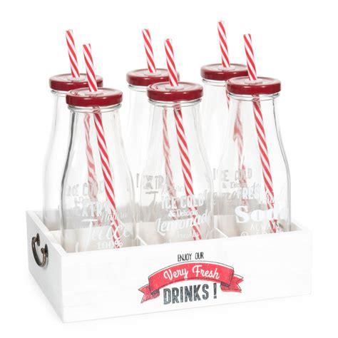 panier 6 bouteilles avec pailles en verre rouges