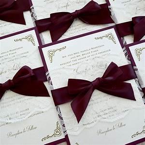 jennifer burgundy and ivory lace wedding invitation With wedding invitations with burgundy ribbon