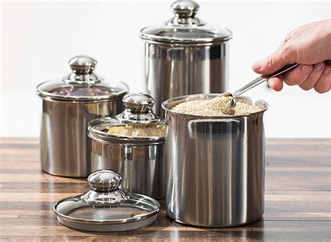 Canisters For Kitchen Counter by Canister Set Stainless Steel Beautiful