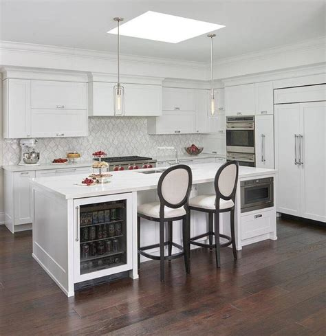 square skylight  kitchen island transitional kitchen