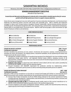 senior management executive manufacturing engineering resume With executive manager resume