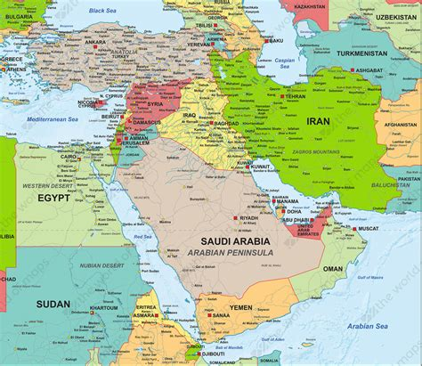 digital map middle east political   world  mapscom