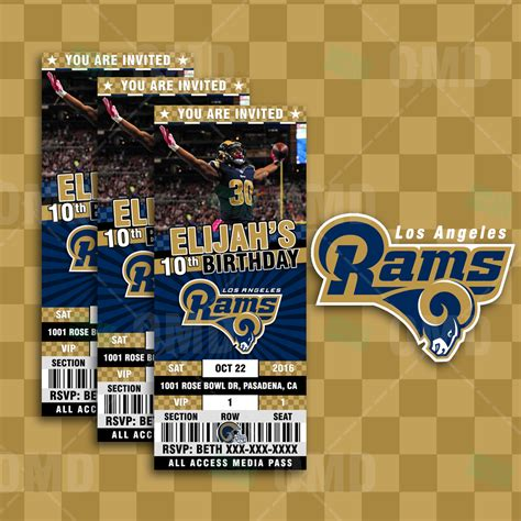 los angeles rams custom ticket style sports party invites