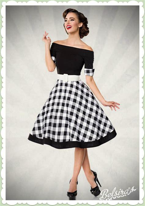 belsira 50er jahre rockabilly petticoat kleid gingham schwarz wei 223