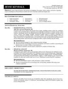career objective resume financial analyst exle financial analyst resume free sle