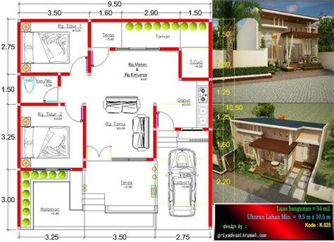 denah rumah type  ukuran    meter jasa desain