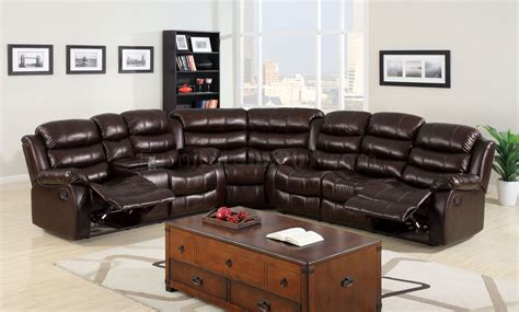 Leather Sofas With Recliners by Winslow Reclining Sectional Sofa Cm6556 In Bonded Leather