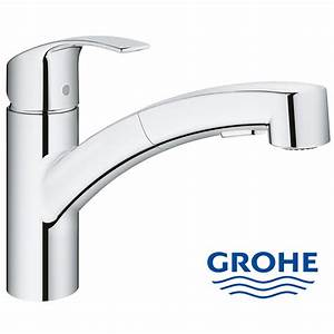 Grohe Eurosmart single lever kitchen mixer with pull out