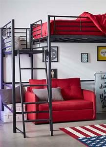 alexy lit mezzanine 2 places noir avec plateforme With suspension chambre enfant avec matelas 4 places