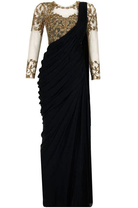 Harga Sari Gold black antique gold embroidered pre stitched sari gown