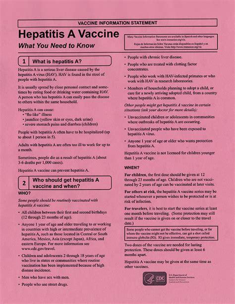 hepatitis  vaccine information statement pad aap