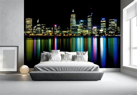 wall mural wallpapers city perth  night neon