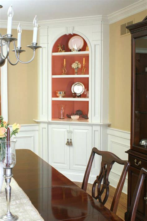White Corner Hutch Classic Dining Room With White Painted