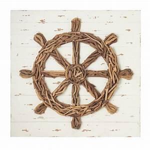 Ship's Wheel Driftwood Wall Decor - Beach Décor Shop