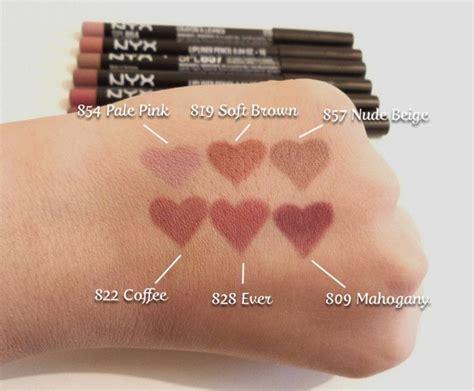 nyx slim lip pencils pale pink soft brown nude beige
