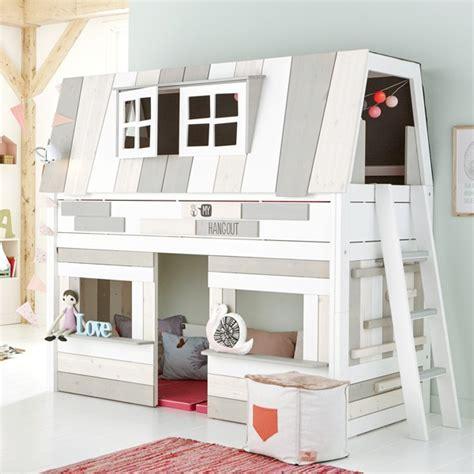 lit cabane enfant mi hauteur 90x200cm blanc hang out