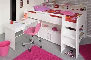 Lit Fille Avec Rangement : lit combin blanc avec bureau rangement novomeuble ~ Melissatoandfro.com Idées de Décoration