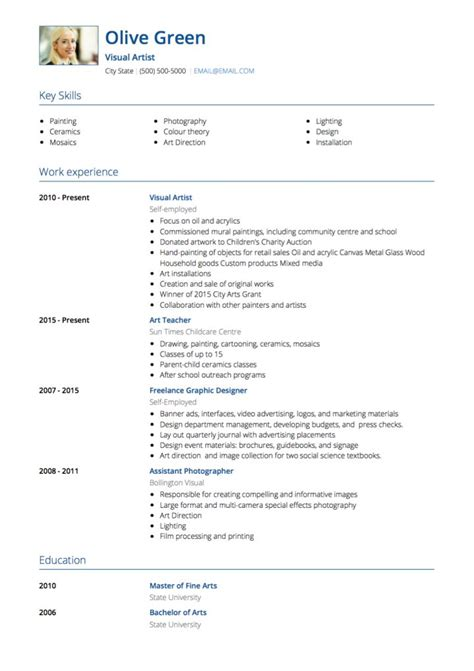 Artist Resume Template by Artist Cv Exles Templates Visualcv