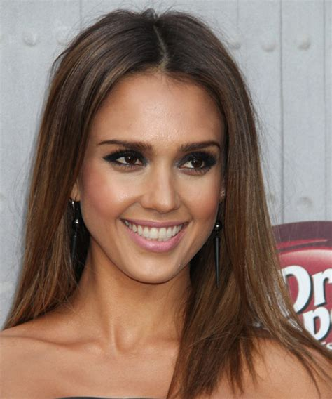 jessica alba casual long straight hairstyle brunette