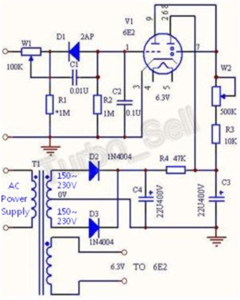 diy audio projects forum suggested circuit changes to use em80 in place of 6e2 eye