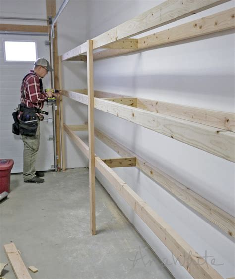 garage shelves diy white easy and fast diy garage or basement shelving