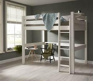 Lit mezzanine 140x200 barrieres surelevees lilja blanc for Amenagement chambre ado avec matelas renault 80x200